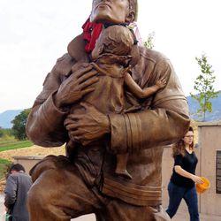 The Utah Unites in Hope 9/11 memorial is installed in Kaysville, Monday, Sept. 9, 2013.