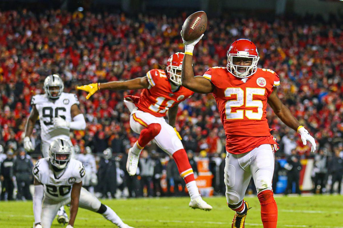 Kansas City Chiefs running back LeSean McCoy celebrates as he runs for a touchdown against the Oakland Raiders during the second half at Arrowhead Stadium.