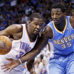 Oklahoma City Thunder forward Kevin Durant, left, drives against Denver Nuggets forward Kenneth Faried (35) during the second quarter of an NBA basketball game in Oklahoma City, Wednesday, April 25, 2012.