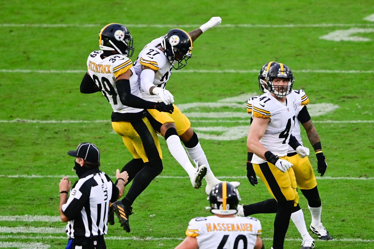 Pittsburgh Steelers free safety Minkah Fitzpatrick and safety Marcus Allen react to an interception during the fourth quarter against the Jacksonville Jaguars at TIAA Bank Field.