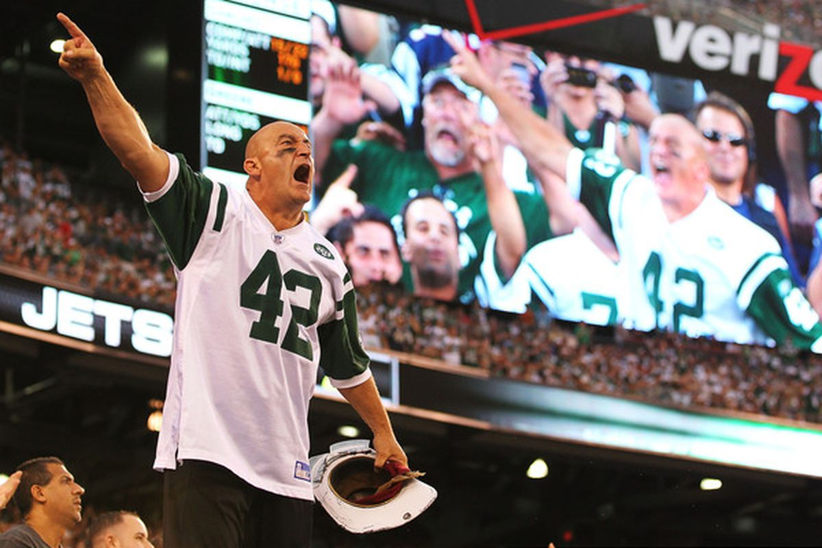 Jets fans like Fireman Ed have had lots to celebrate so far this season.  (Photo by Al Bello/Getty Images)