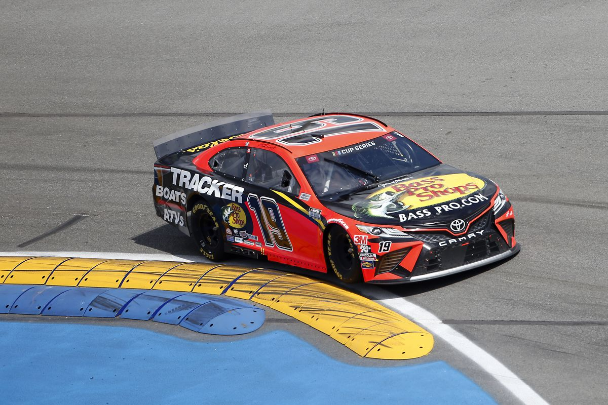 Martin Truex Jr., driver of the #19 Bass Pro Shops Toyota, drives during the NASCAR Cup Series Go Bowling 235 at Daytona International Speedway on August 16, 2020 in Daytona Beach, Florida.