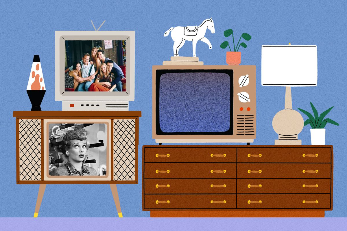 A collection of three television sets flickering through channels of famous television shows, including 'I love Lucy', 'The Jetsons', 'Friends' and 'The Twilight Zone'. They're surrounded by household decorative items like plants and a lava lamp.