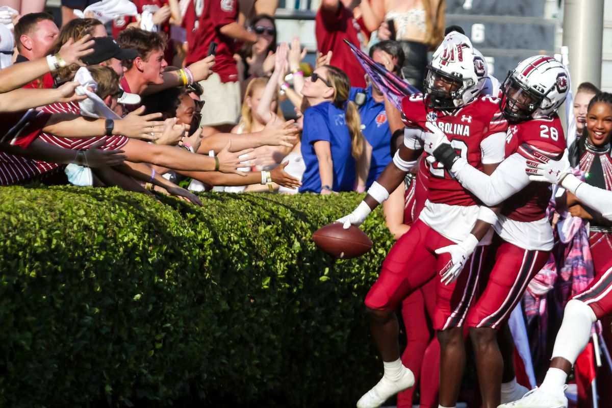South Carolina Gamecocks defensive back David Spaulding and South Carolina Gamecocks defensive back Darius Rush celebrate an interception for a touchdown by Spaulding against the Troy Trojans in the second half at Williams-Brice Stadium.