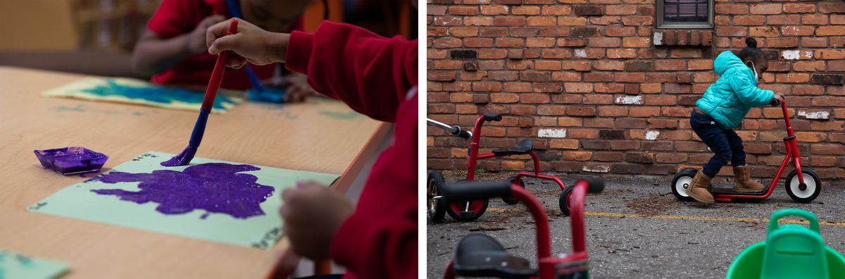 (Left) Preschoolers participate in a painting activity at Little Scholars child care center. (Right) A preschooler rides around on a scooter as the preschoolers play outside at Little Scholars child care center.