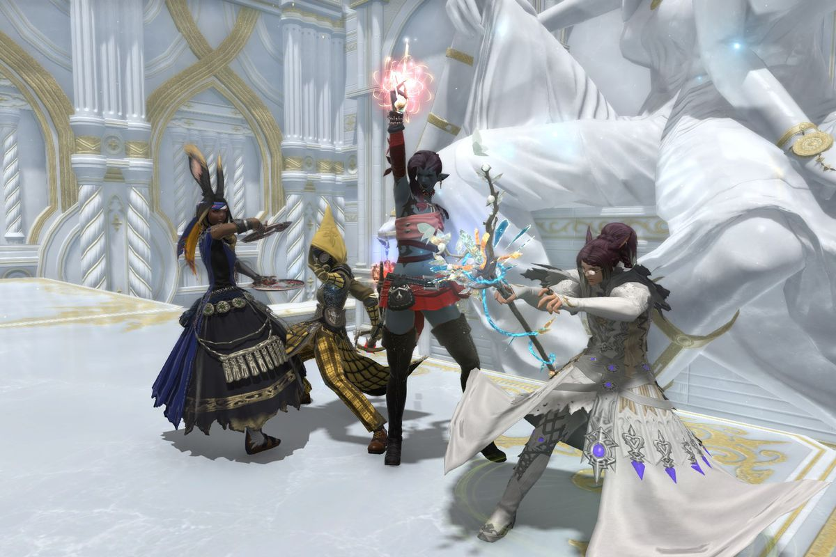 A light party in Final Fantasy 14 casts spells and aims weapons in a white marble palace