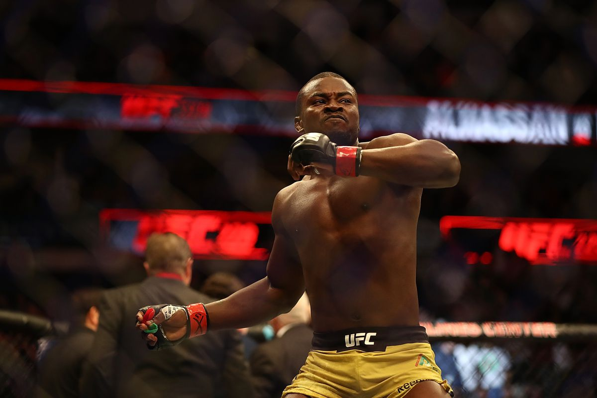 Abdul Razak Alhassan celebrates his knockout victory against Niko Price in their Welterweight bout during UFC 228 at American Airlines Center on September 8, 2018 in Dallas, United States.
