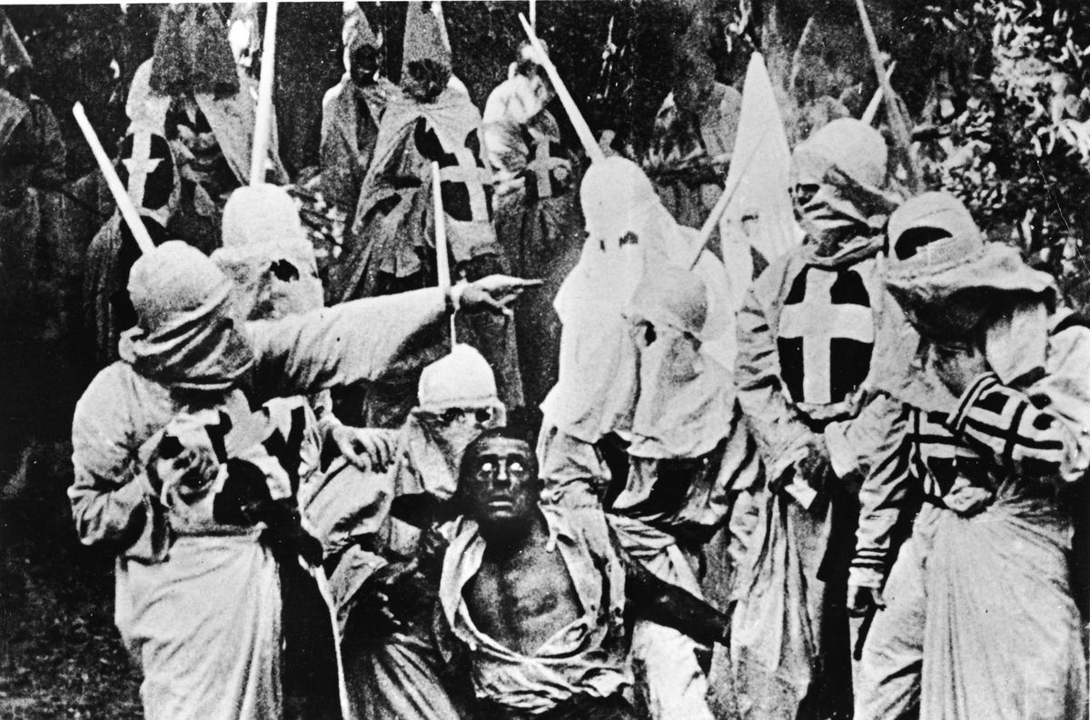 An image of Klansmen from D.W. Griffith's The Birth of a Nation.