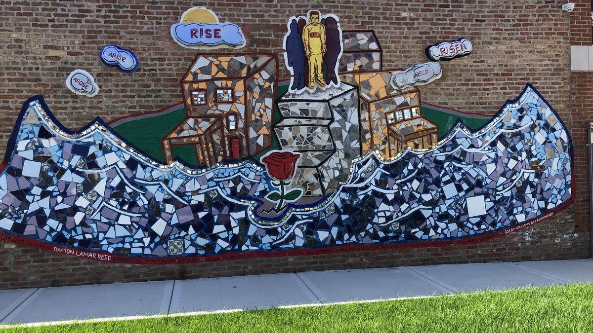 This mural at the 345 Art Gallery was created by Damon Lamar Reed and kids in After School Matters.