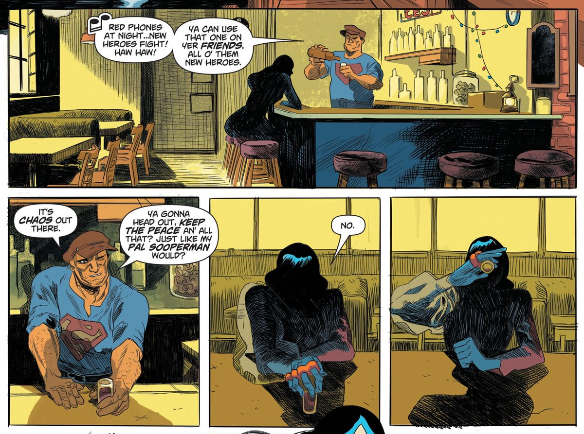 Bibbo Bibbowski serves a drink to a mysterious hero at his bar, in Dial H for Hero #7, DC Comics.