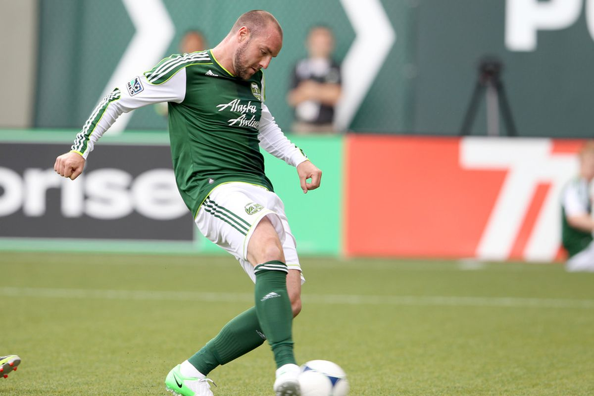 PORTLAND, OR -JUNE 24: Kris Boyd #9 of the Portland Timbers scores a goal in the first half of the Seattle Sounders match on June 24, 2012 at Jeld-Wen Field in Portland, Oregon.(Photo by Tom Hauck/Getty Images)