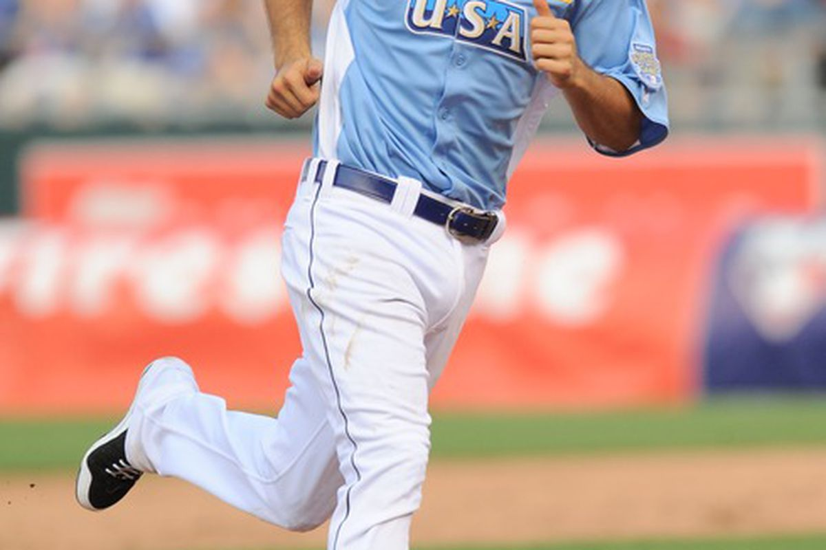 July 8, 2012; Kansas City, MO, USA; USA infielder Nick Castellanos rounds the bases after hitting a three-run home run during the sixth inning of the 2012 All Star Futures Game at Kauffman Stadium.  Mandatory Credit: Denny Medley-US PRESSWIRE