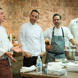 This picture perfectly captures the Chiarello-Carbone demo. From left: Michael Chiarello, Mario Carbone, Brian Bistrong, Rich Torrisi.
