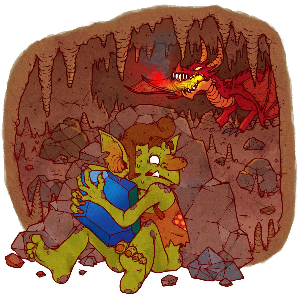 A goblin clutches a gem inside a mountain. In the background a red dragon looms.