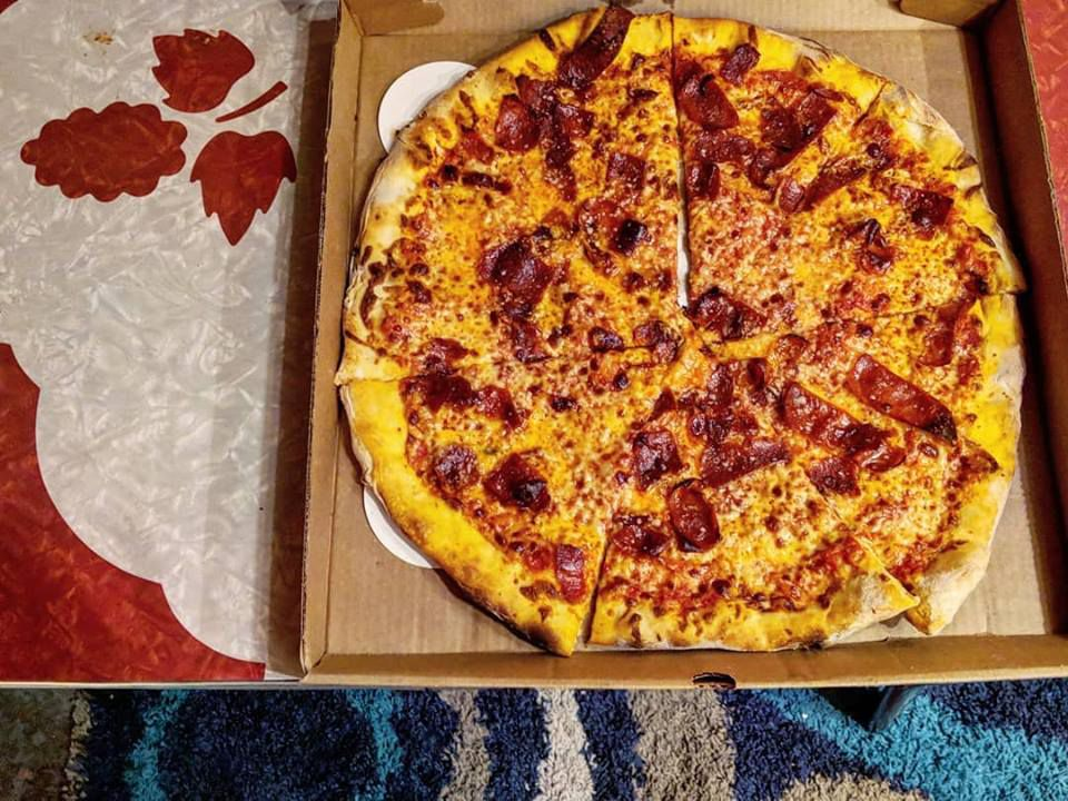 A pepperoni pizza from Dragon Pizza in Somerville's Davis Square