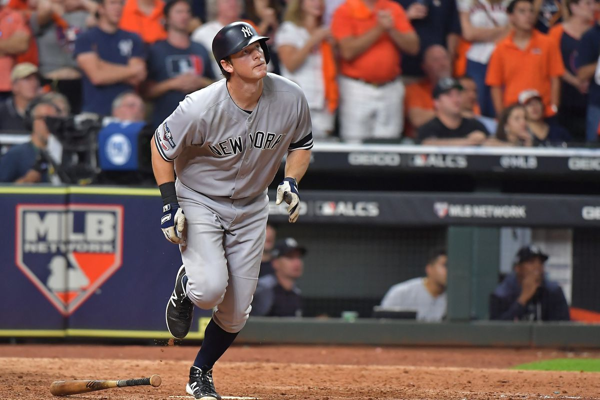 New York Yankees second baseman DJ LeMahieu hits a home run in the ninth inning of the ALCS Game 6