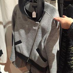 Leather combo jacket, $150