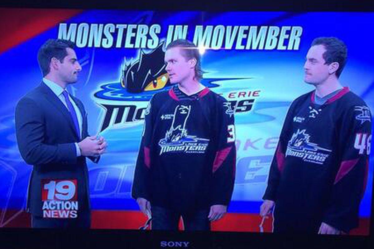 Picks and Elliott in the studio promoting Movember