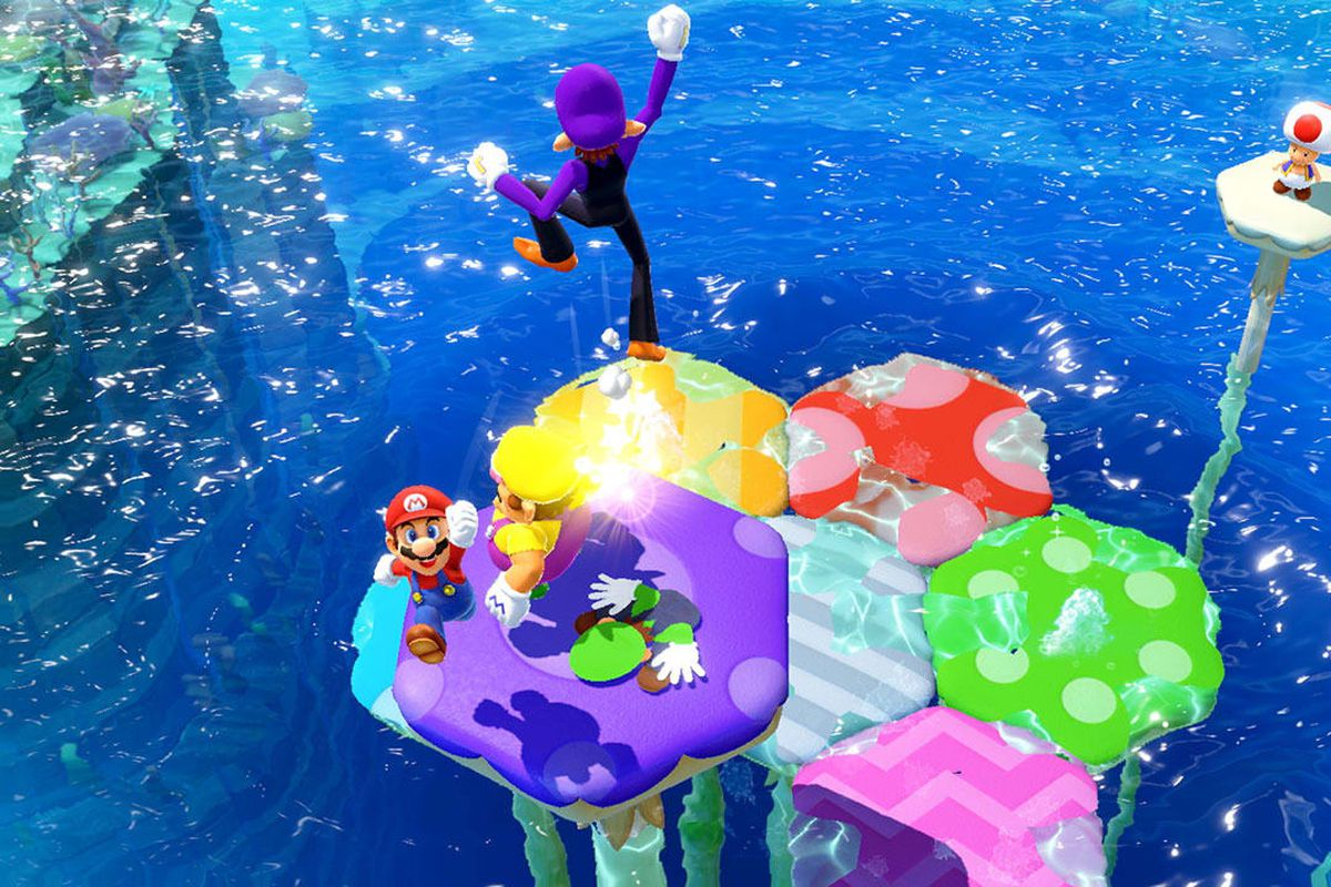 Mario and friends on a big mushroom in Mario Party Superstars