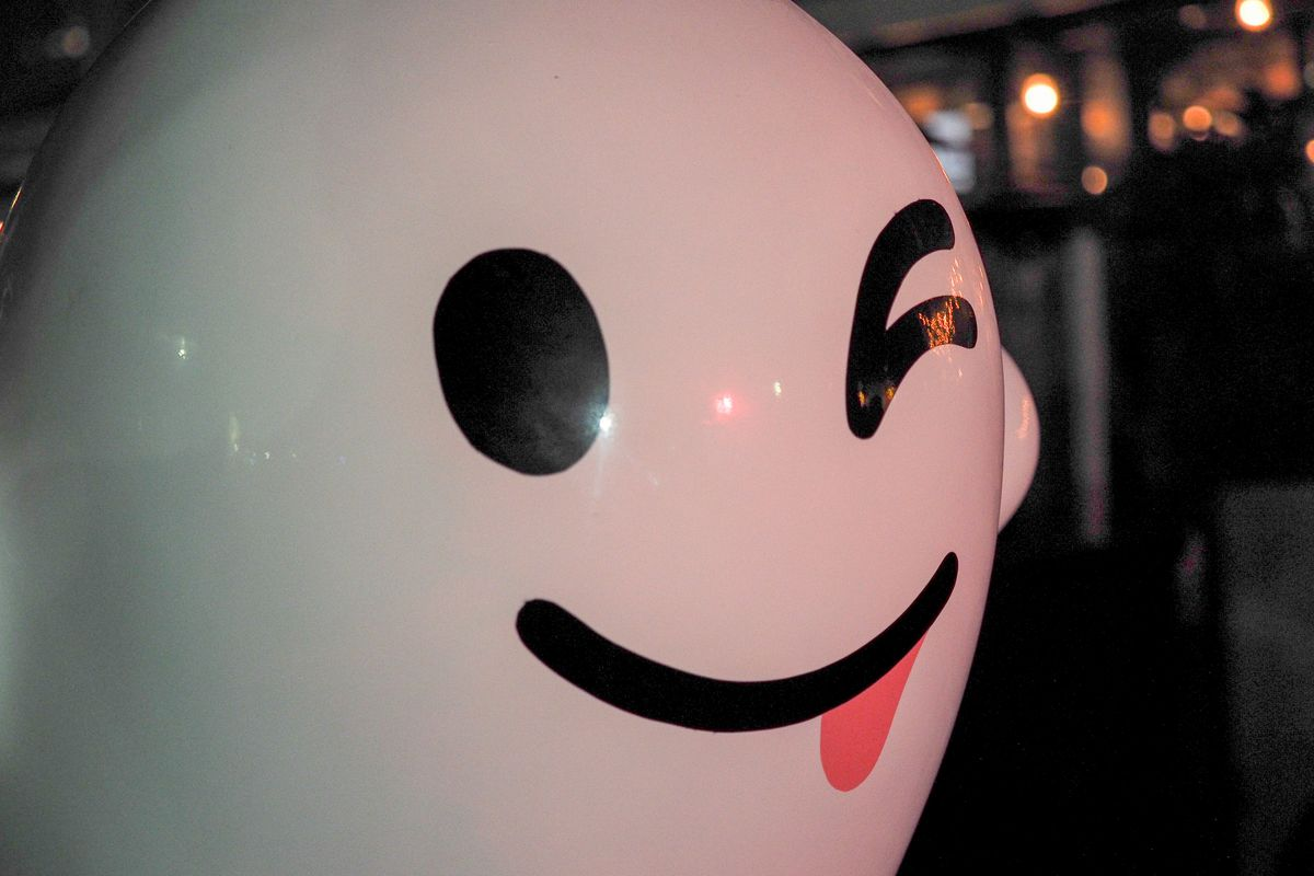 A model of the Snapchat ghost, winking