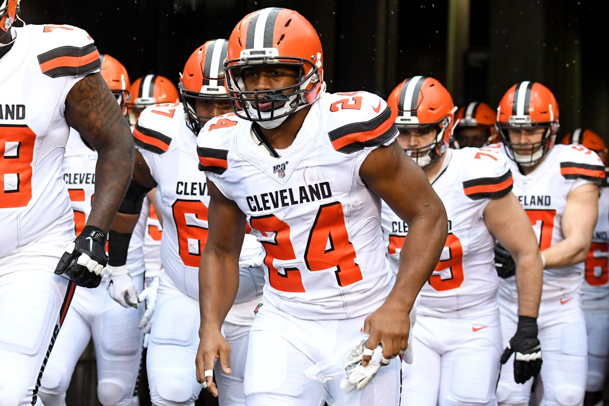 Running back Nick Chubb #24 of the Cleveland Browns runs out of the tunnel prior to a game against the Cincinnati Bengals on December 29, 2019 at Paul Brown Stadium in Cincinnati, Ohio. Cincinnati won 33-23.