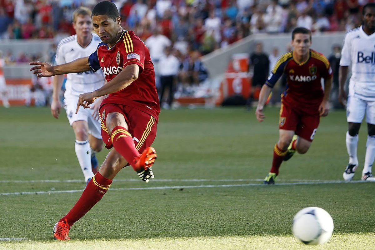 Real's #15 Alvaro Saborio scores a penalty kick goal as Real Salt Lake and Vancouver play Friday, July 27, 2012 at Rio Tinto Stadium.