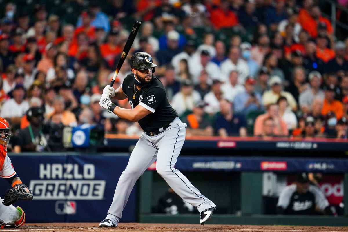Jose Abreu #79 of the Chicago White Sox in the batters box during Game 1 of the ALDS between the Chicago White Sox and the Houston Astros at Minute Maid Park on Thursday, October 7, 2021 in Houston, Texas.