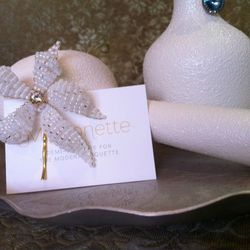 Hand-beaded Lily with gold- plated pin by Due Sorelle, $68