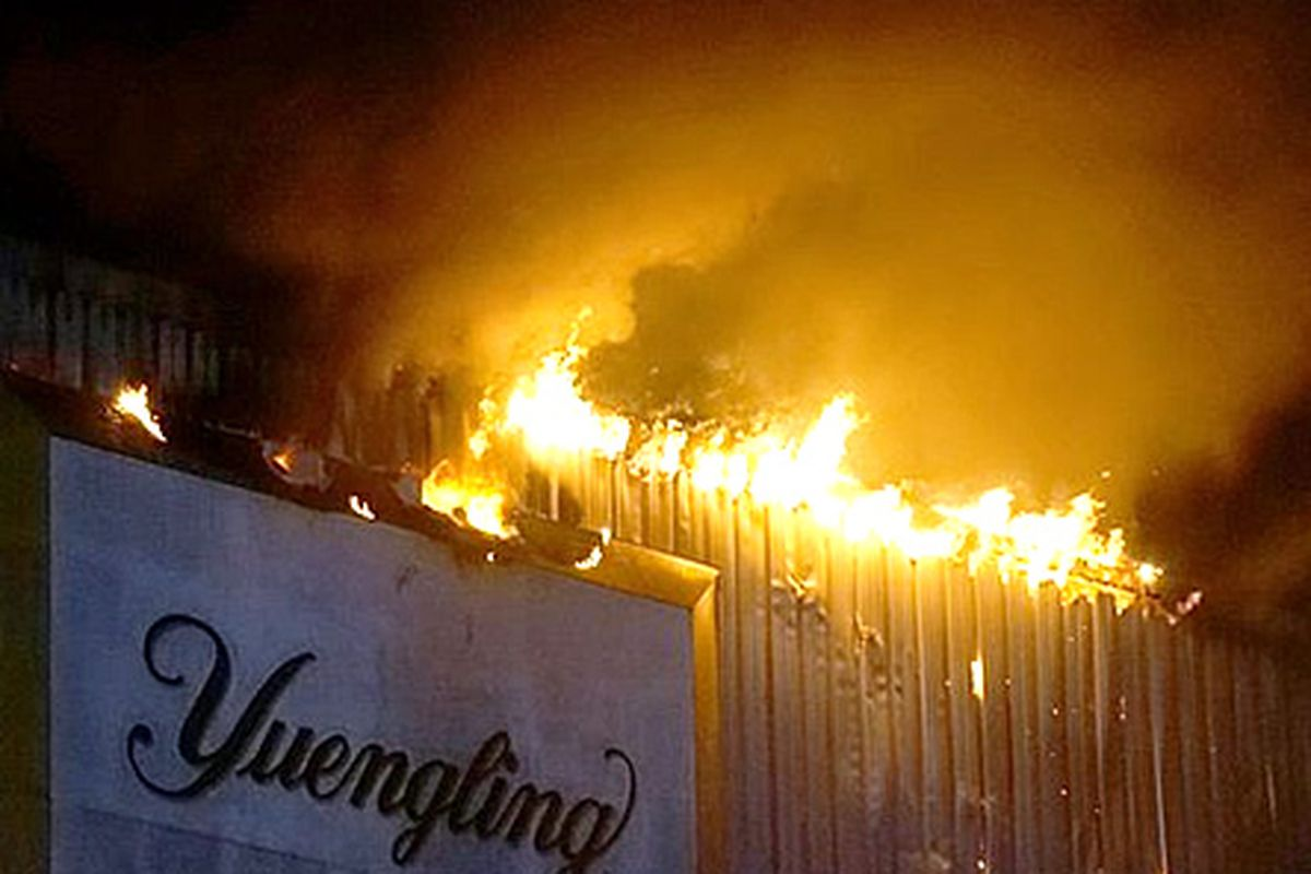 Fire tore through the Tampa Yuengling brewery.