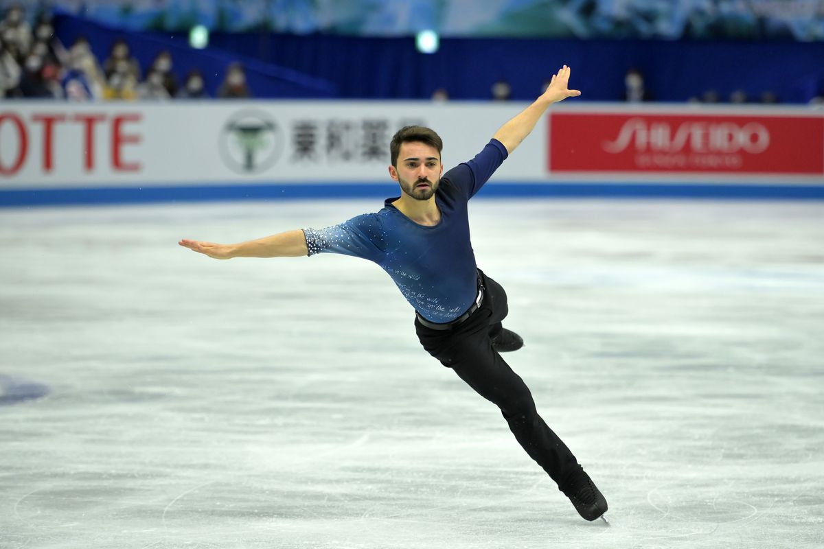 French skater Kevin Aymoz competing in Japan in 2021.