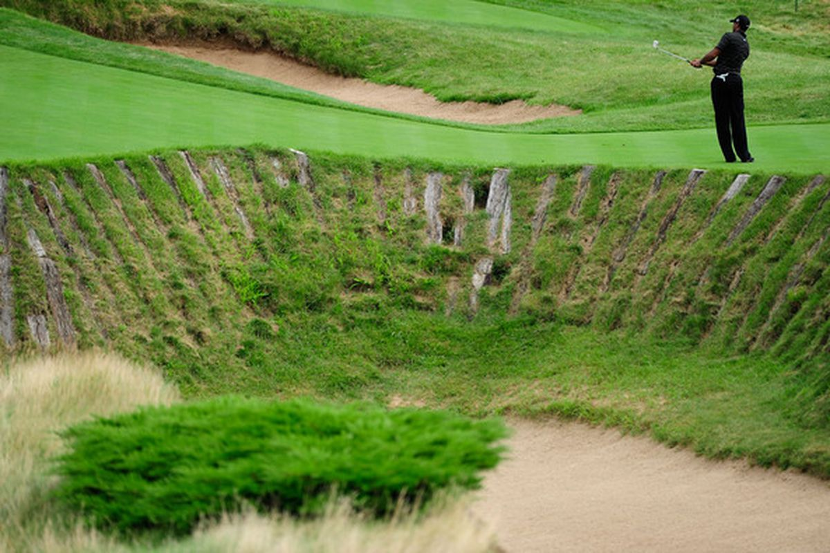 This is one of the approximately 18,000 bunkers at Whistling Straits.  (Photo by Stuart Franklin/Getty Images)