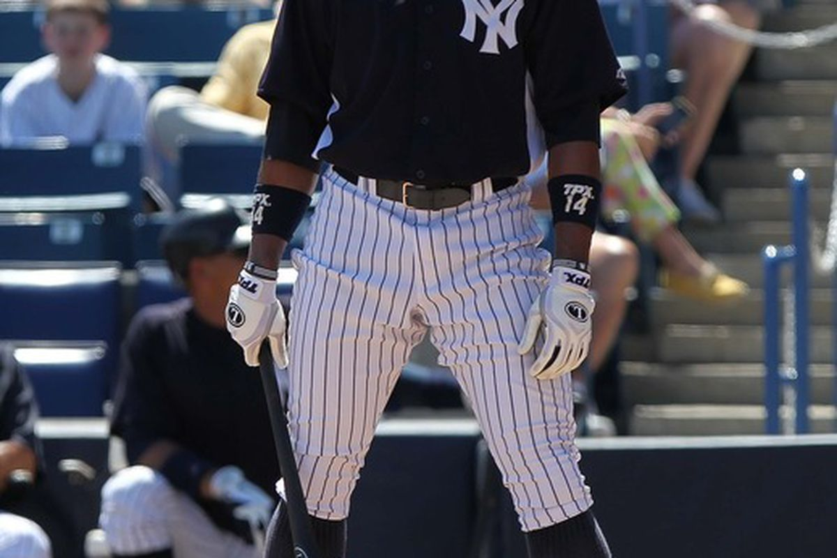 March 17, 2012; Tampa, FL, USA; New York Yankees center fielder Curtis Granderson (14) looks at the third base coach before he bats against the Houston Astros at George M. Steinbrenner Field. Mandatory Credit: Kim Klement-US PRESSWIRE