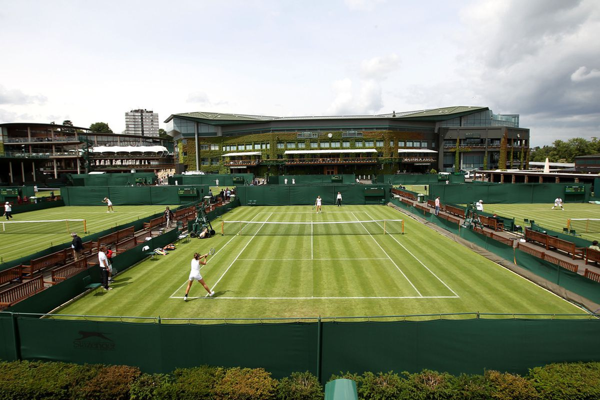 LONDON, ENGLAND - JUNE 23:  A general view of the outside courts during previews to The Championships at Wimbledon on June 23, 2012 in London, England.  (Photo by Clive Rose/Getty Images)
