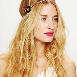 """<a href=""""http://www.freepeople.com/sale-sale-under-30/leather-flower-metal-chain-headband/"""">Leather Flower Metal Chain</a>, $29.95 (was $58)"""