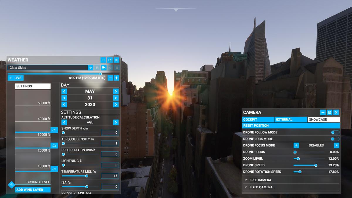 The Showcase camera settings in Microsoft Flight Simulator