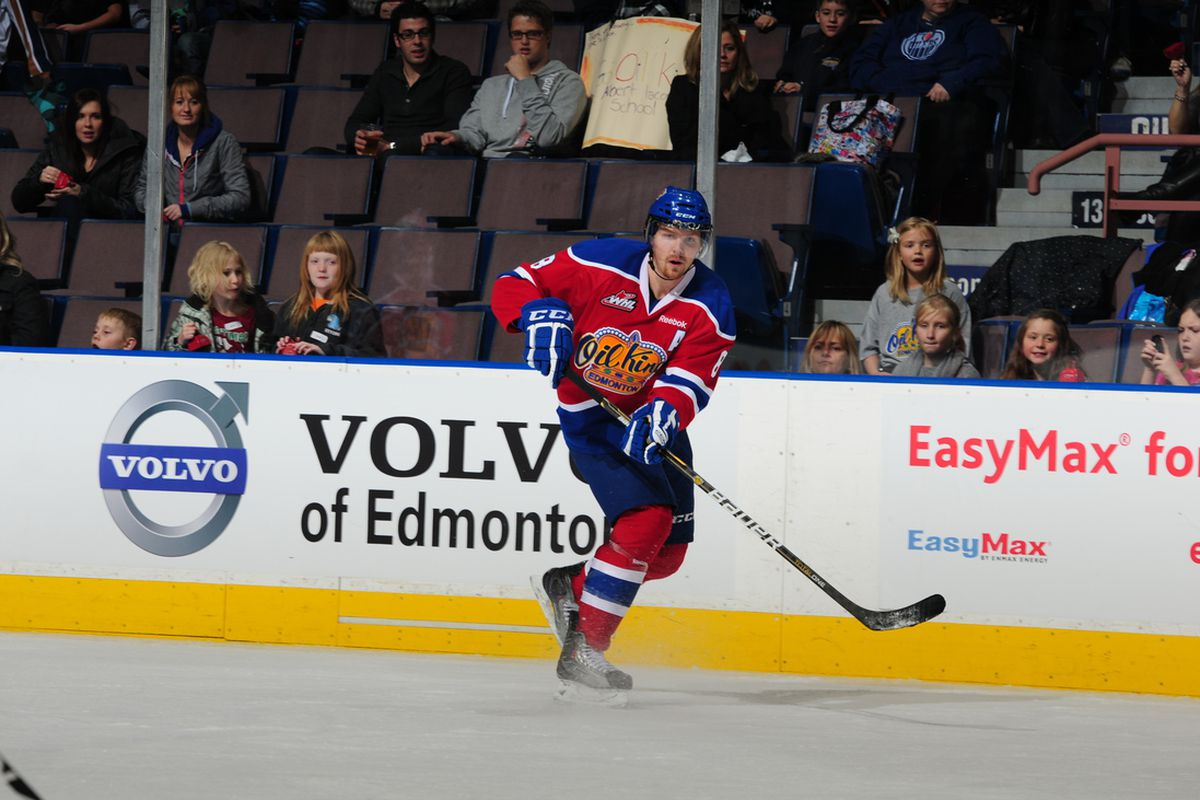Griffin Reinhart and Volvo of Edmonton. A winning combination. (Photo Credit: Andy Devlin Courtesy Edmonton Oil Kings)
