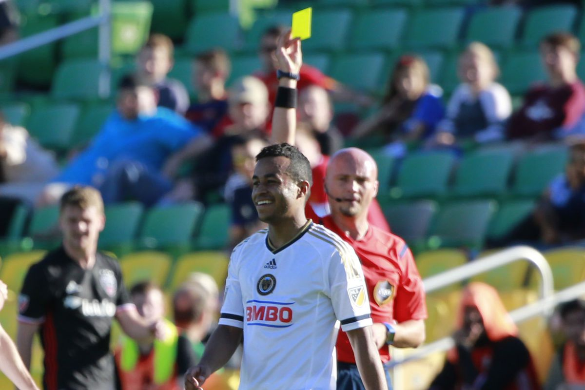 Just one of the many yellow cards issued on Wednesday.