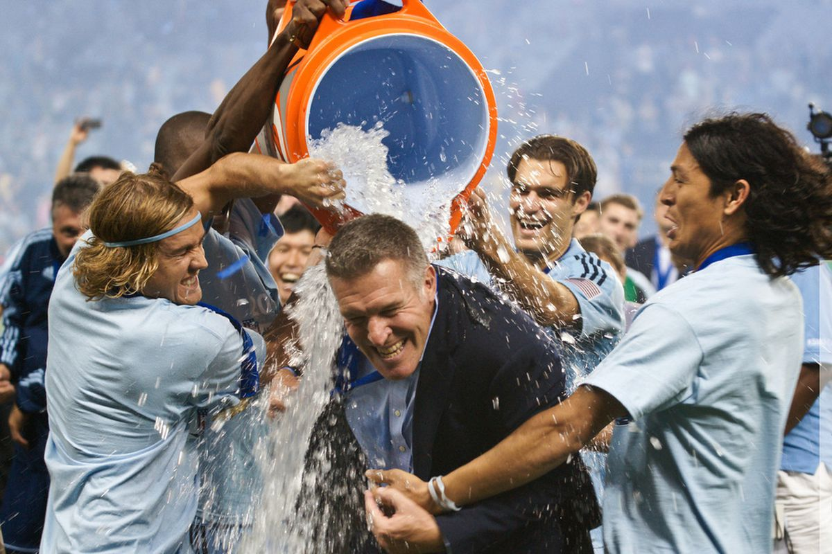 Vermes getting the cooler dumped on him after the U.S. Open Cup win in 2012