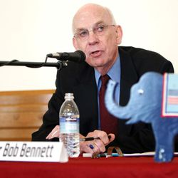 Senator Bob Bennett responds to a question during a debate between candidates for U.S. Senate at the Provo Library at Academy Square in Provo, Utah March 1, 2010.  Keith Johnson, Deseret News