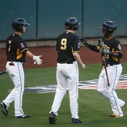 Salt Lake Bees shortstop Rey Navarro (13) celebrates a run with Matt Williams (7) against the Las Vegas 51s during a game at Smith's Ballpark in Salt Lake City on Monday, June 5, 2017.