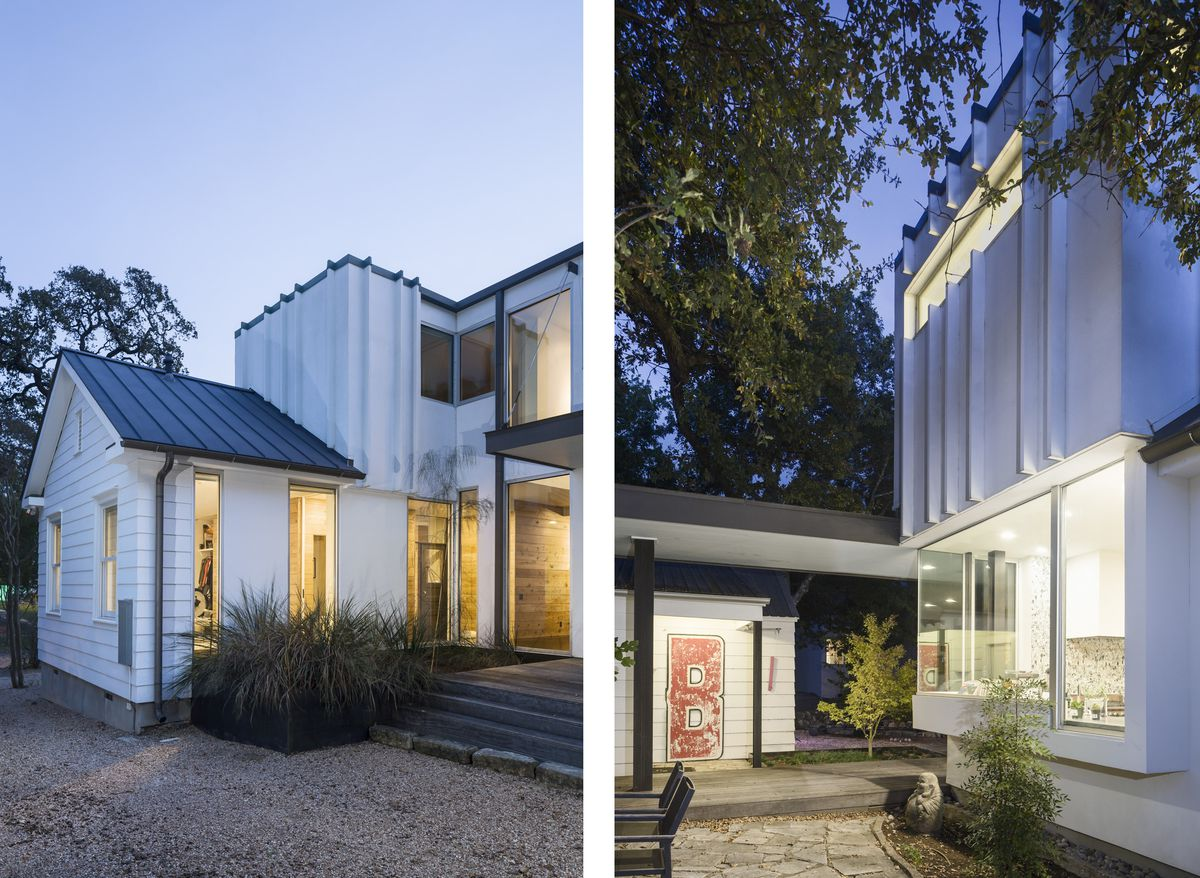 Two views of a modern addition on a vintage Austin, Texas home