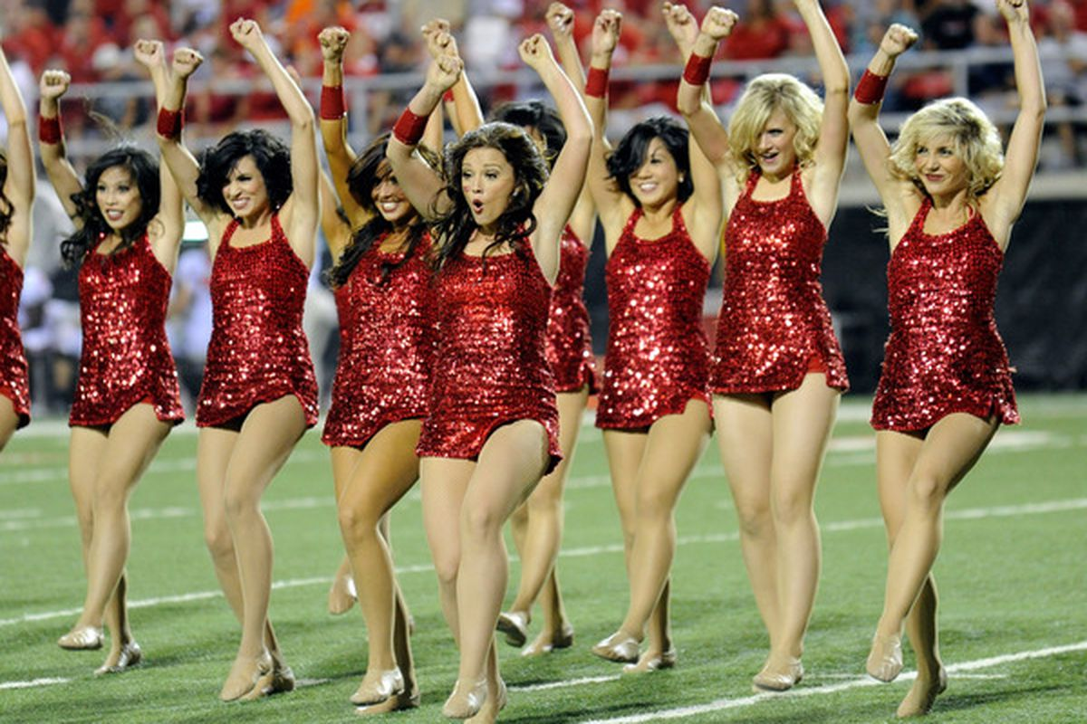 LAS VEGAS - SEPTEMBER 04:  Members of the UNLV Rebels dance team perform during the Rebels' game against the Wisconsin Badgers at Sam Boyd Stadium September 4 2010 in Las Vegas Nevada. Wisconsin won 41-21.  (Photo by Ethan Miller/Getty Images)