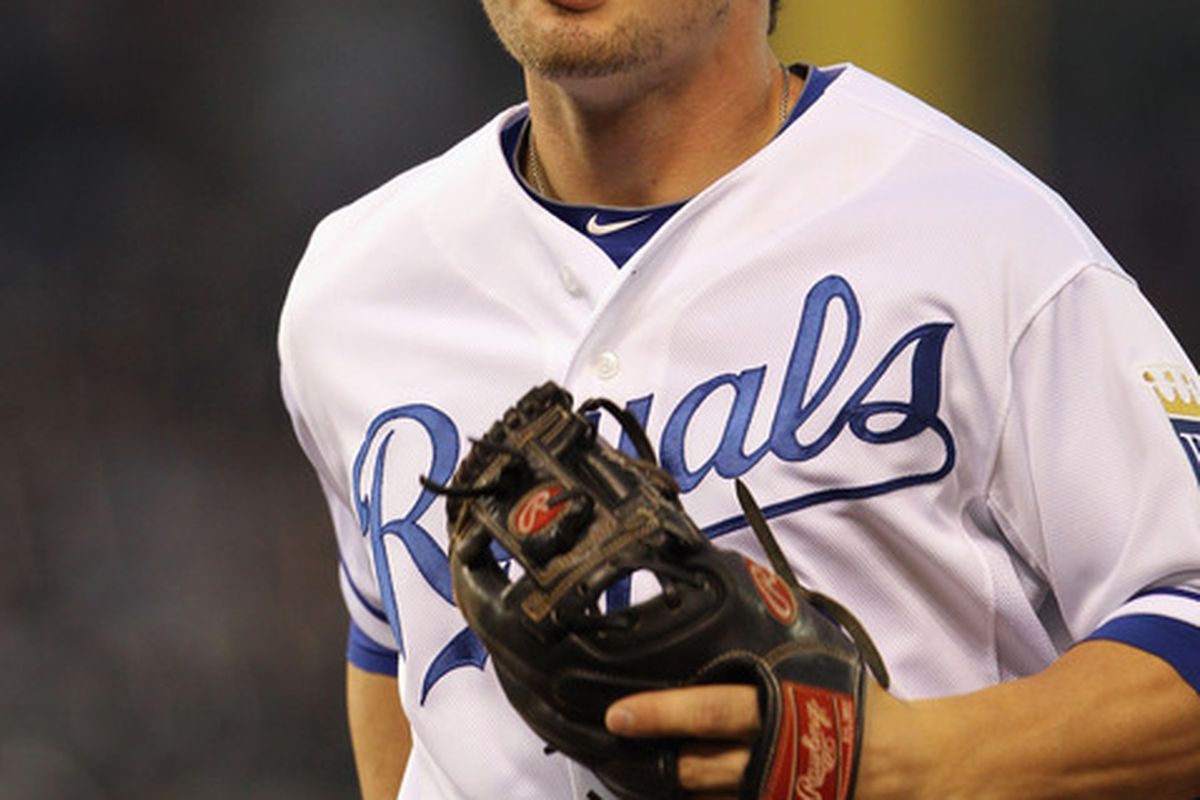 KANSAS CITY, MO - AUGUST 15:  Johnny Giavotella #9 of the Kansas City Royals in action during the game against the New York Yankees at Kauffman Stadium on August 15, 2011 in Kansas City, Missouri.  (Photo by Jamie Squire/Getty Images)
