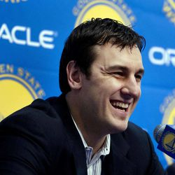 Newly acquired Golden State Warriors center Andrew Bogut, of Australia, speaks during a news conference, Friday, March 16, 2012, in Oakland, Calif. The Warriors acquired Bogut from the Milwaukee Bucks. (AP Photo/Ben Margot)