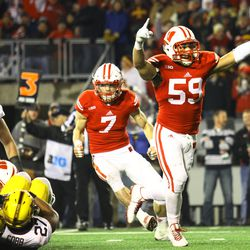 Marcus Trotter celebrates a 3rd down stop late in the game