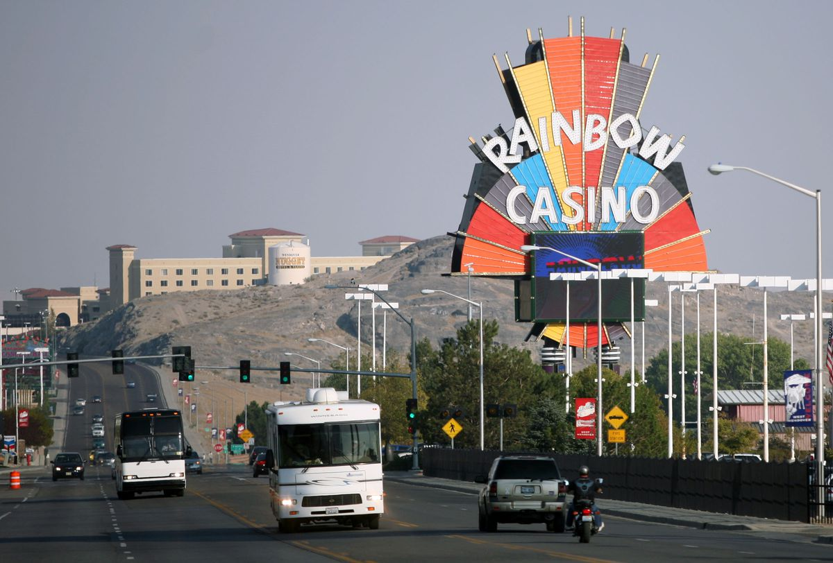 Traffic moves into casinos in West Wendover, Nevada on Friday, September 21, 2012.