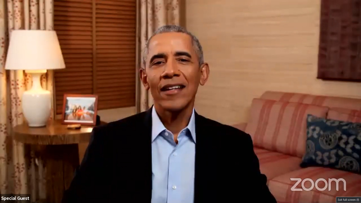 Former President Barack Obama speaks to CPS students during a virtual assembly Monday.