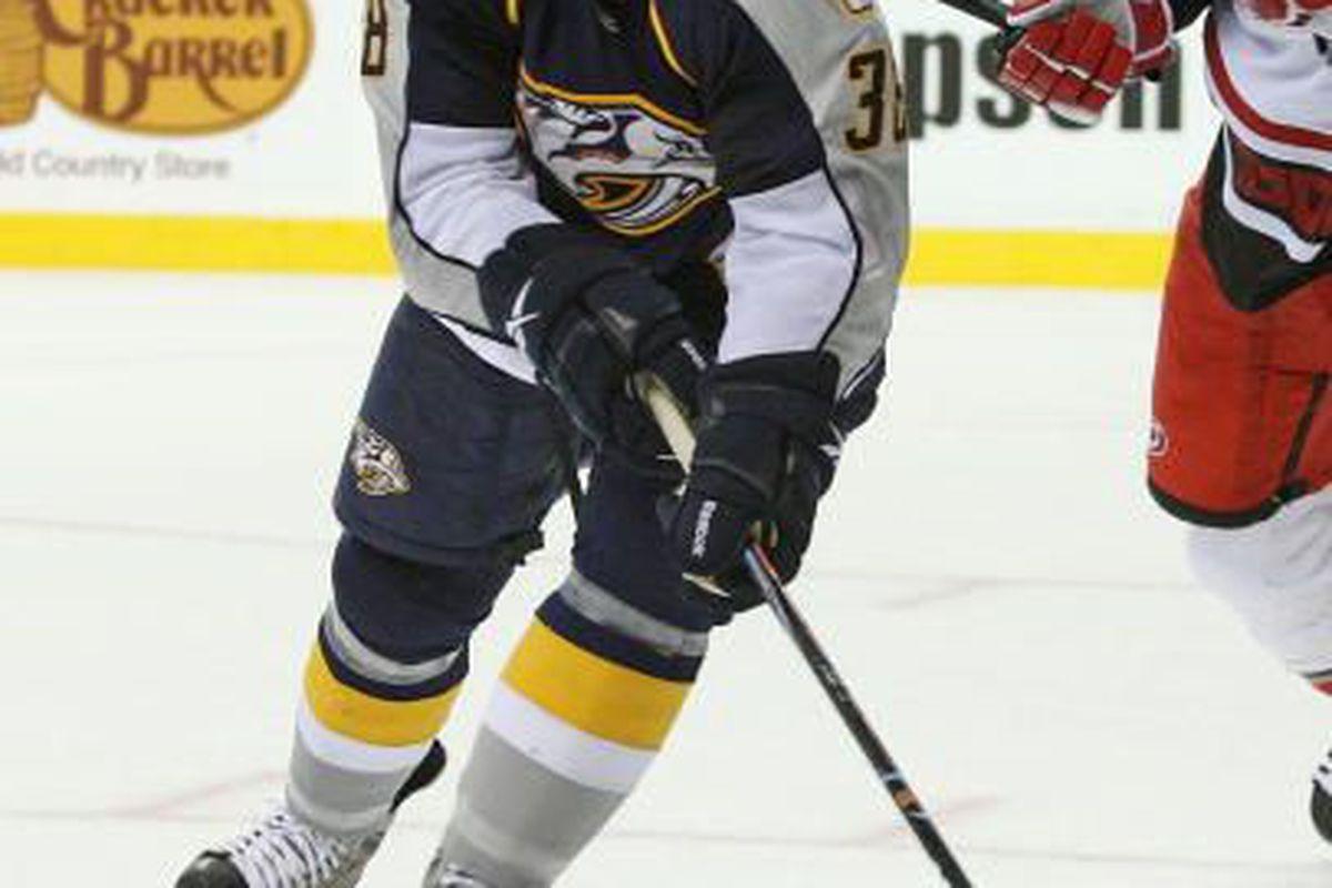 Foward Peter Olvecky #38 of the Nashville Predators skates during a pre-season NHL Hockey game at the Sommet Center on September 26, 2009 in Nashville, Tennessee. (Frederick Breedon/Getty Images)