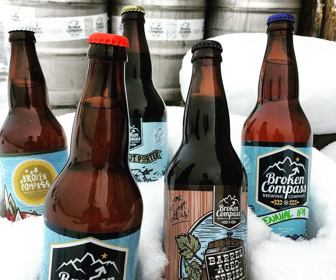 Broken Compass Brewing Company Sticker Breckenridge Colorado Craft Beer Pub