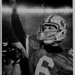 BYU Quarterbacks online photo gallery. Robbie Bosco casts his vote for a BYU national championship after a win over Michigan. (Ravell Call, Deseret News Archives)   Search words: Brigham Young University